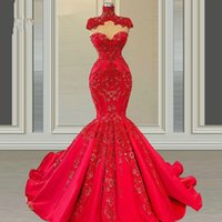 Vintage High Neck Mermaid Evening Dresses 2021 Red Lace Plus Size Sweep Train Custom Made Prom Pageant Gowns For Dubai Arabic Women