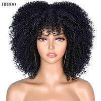 """Kurzes Haar kinky lockig Afro mit Pony für Frauen 10 """"Synthetische afrikanische Glueless Cosplay Hitzebeständige Perücken HiHoo"""