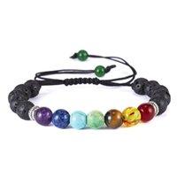Rinhoo 8mm Classic Chakra Lava Beads цепные браслеты для женщин Мужчины ручной работы сплетенные веревки йоги Очарование дружбы Регулируемые ювелирные изделия