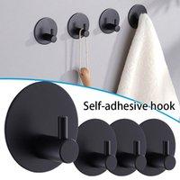 Hooks & Rails 4 PCS Self-Adhesive Hook Heavy Duty Rustproof Stainless Steel Towel Coat Hangers Punch-Free For El Bathroom HANW88