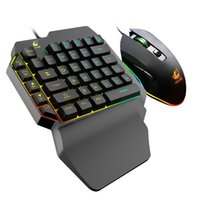 Keyboard Mouse Kit Wired One Handed Membrane Gaming Keyboard Mouse Combo Set Ergonomic Design for PUBG PC Gamer