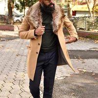 Mann Wollmischungen Mantel Mode Trend Langarm Strickjacke Single Breasted Windjacke Oberbekleidung Männlicher Winter Casual Revers Mittellange Mäntel