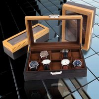 Watch Boxes & Cases Box Luxury Wooden Holder For Watches Men Glass Top Jewelry Organizer 6 10 12 Grids