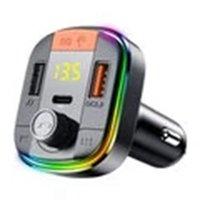 Yesido Y45 bluetooth V5.0 FM Transmitter 18W PD + QC3.0 Dual USB Car Charger 7 Colors RGB Backlit Light LED Digital Display Wireless Radio