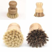 Wooden Bamboo Round Pot Dish Bowl Sink Stove Washing Brush Kitchen Clean Tool Handle Easy Use Convenient Cleaning Tools