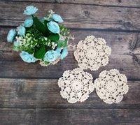 10 cm rotondo vintage natale placemat in cotone pizzo crochet doily tazza tazza tavolino tavolino da sposa posto mat panno decor dff2746
