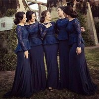 Cheap Modest lace Mother Of The Bride Dresses Long Sleeves Plus Size Lace Wedding Guest Dress mermaid satin Evening Gowns