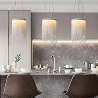 Modern Kolye Işıkları Gümüş Zincir Lamba Mutfak Yemek Odası Yatak Odası Için LED İç Aydınlatma Armatürü Basit Cilası Ev Dekorasyonu