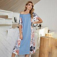 Casual Dresses 2021 Spring Splicing Leisure Belt Medium Length Printed Dress Women's High Waist A-line Skirt