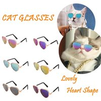Dog Apparel 2021 Lovely Pet Cat Glasses Summer Eye-Wear Products Kitty Toy Sunglasses Pos Props Accessories Heart Shape Colorful
