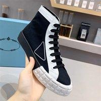 Wheel Nylon Designers Mulheres Sapatos 2021 Tela de Algodão Sapatilhas Alta-Top com Caixa Correta Borracha Triangle Logo Sapato Causal