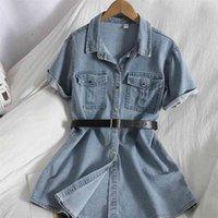 Fashion Denim Korean shirt dress jacket spring summer casual denim bag hip dress vintage solid color pocket mini dress with belt 210515