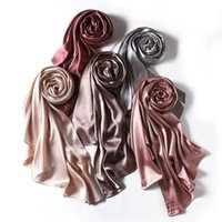 Satin Hijabs Women Malaysian Solid Color Fashion Scarf European And American Pearling Shawl Headscarf Cross-Border For Muslim Scarves