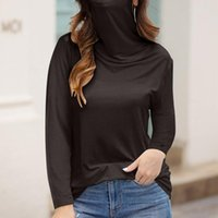 Women's Turtleneck T-shirt Casual Loose With Face Mask Long Sleeve Soild Tops Lady Tee Shirt Femme Streetwear