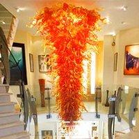 Подвесные светильники деревенский оранжевый оттенок ручной вручную стеклянный цепь люстра освещение 160 '' Custom Hard Led подвесные огни для украшения дома-л