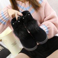 Boots Korean 2021 Winter Snow Women Fashion Short Tube Butterfly Knot Suede Flat Cotton Shoes Woman Platform