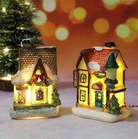 Decorazioni natalizie Led Toy Resina Piccola Casa Micro Paesaggio Castello Ornamenti Regali di Natale Giocattoli FWD10285