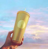 Rainbow Star-Bucks Coffee кружки кружки 24 унции пластиковые питьевые чашки Unicolor Bling с двойной стеной воды тумблером с соломой