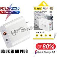 18W شاحن USB سريع شحن سريع نوع C PD Fasts شحن ل iPhone Eu الولايات المتحدة التوصيل QC 4.0 شواحن الهاتف مع صندوق البيع بالتجزئة