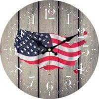 Vintage patriotisme amérique drapeau horloge rétro silencieux salle de cuisine galerie murale montres grandes horloges