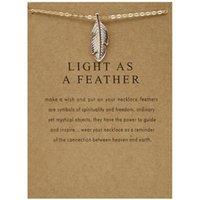 Aleación de hojas y plumas Cadena de clavija de oro Pescado óseo Tarjeta de bendición collar corto
