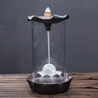 Burner de incenso luminoso refluxo refluxo lâmpadas fragrâncias brilhantes backflow censters titular cerâmico buddha tea casa por mar bwe10019