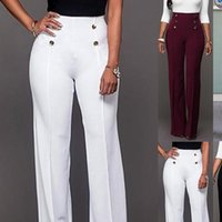 Moda donna Capri Pantaloni gamba larga da donna allentati Donne di colore solido a vita alta fiancata pantaloni svasati sottili pantaloni femminili