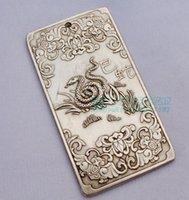 Китайский Тибет Серебряный слиток Pharka Fengshui китайский зодиак змея змея амулет ожерелье подвесной металл русский