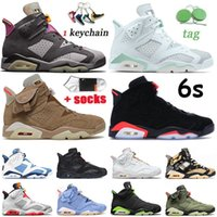 Con scatola Nike Air Jordan 6 Jumpman Mens scarpe da basket 6s Carmine 6 Travis Scotts British Khaki Tech Chrome Black Infrared Hare Trainers Sneakers
