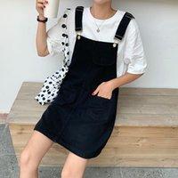Casual Dresses Summer Autumn Women Denim Dress Sundress Ladies Black Overalls Female White Adjustable Strap Jeans Mini