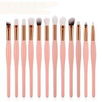 Makeup Brushes GUJHUI 12pcs Set Wood Handle Foundation Blending Powder Eyeliner Eyebrow Eye Brush Beauty Maquiagem