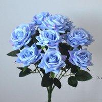 روز الحرير باقات الزهور فو الورود باقة مع 12 رؤساء لحفلة الزفاف المنزل مكتب المنزل مطعم الديكور OWE5361