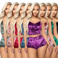 Tracksuits designer womens 2 piece short sets hollow-out Sexy Slim-fit velvet lace two-piece shorts nightclub outfit XS-C3Z9