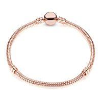 1pcs Drop Shipping Braccialetti in oro rosa Donne Donne Catena di serpente Branelli di fascino per Pandora Bangle Bracciale Bracciale regalo festival B018 16 T2