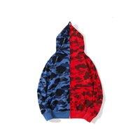 Mans Hoodie Herren Jacket Shark Jaw Camo voller Reißverschluss blau rot Doppel-Farbschweißmantel