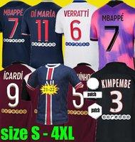 20 21 22 mbappe icardi لكرة القدم الفانيلة 2021 2022 مايلوت دي القدم Kimpembe دي ماريا كين ماركنهوس الرابع لكرة القدم قميص الحجم S - 4XL