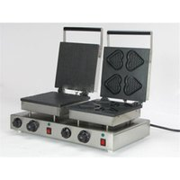 NP-578 Double Heads Waffle Machine HEARTS + Ice Cream Shell Style Electric Maker Stainless Steel Bread Makers