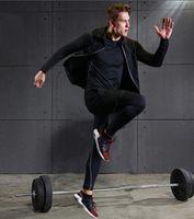 Mens Gym sets Fitness Wear Sports lycra Running tights Track suit Sportswear leggings Workout clothing Compression Bodybuilding T-shirt Jogging set