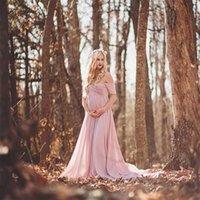 NOUVEAU Robe de maternité en dentelle blanche Photographie Prise de vue encets Long Coton Robe Enceintes Femmes Élégantes Fantaisie Studio Studio Vêtements 279 Z2