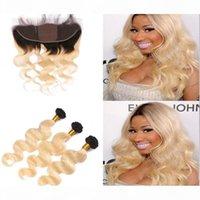 Onda corporal Ombre 1b 613 Color paquetes de cabello con encaje frontal 13x4 oreja a oreja de encaje frontal con tejidos de pelo