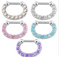 Yüzükler Çiviler Jewelry30pcs Rhinestone Kristal Hoops Unisex Cerrahi Çelik CZ Septum Clicker Burun Halka Piercing Vücut Takı 6zhmt O5Ule Bırak