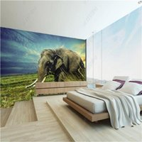 Wallpapers African Grassland Mural Elephant Dusk Wallpaper For Living Room TV Sofa Background Wall Paper Home Decor Papel De Parede