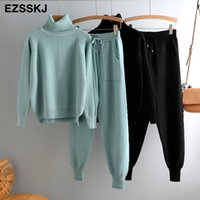 casual 2 Pieces sweater Set Women Knitted Turtleneck Sweater...
