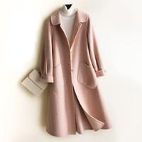 Женская шерстяная смесь 2021 осенью 100% подлинное двусмысленное шерстяное пальто женские пальто мода весенние розовые куртки Casaco Feminino Inverno GMM24