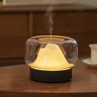 Humidifiers Mini Mountain Style Aroma Oil Diffuser 400ML Capacity Desktop Colorful Light Mist Maker Bedroom Mute Air Humidifier 100V-240V