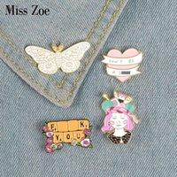 나비 공예 소녀 키보드 배너 에나멜 배지 브로치 가방 데님 셔츠 옷깃 핀 낭만적 인 꽃 쥬얼리