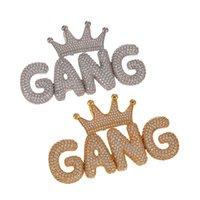 Hip Hop Iced Out Crown Bubble Words Custom Nome Cúbico Zircon Corrente Pingentes Colares para Homens Jóias 434 Q2
