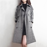 Women's Trench Coats 2021 Korean Plaid Coat Women Clothes Mid-Length Autumn British Style With Belt Retro Houndstooth Windbreaker