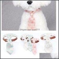 Collars Leashes Supplies Home & Gardencute Pet Cat Dog Tie Collar Bandana Leather Fabric Print Floral Detachable Neck Strap Fashion Drop Del