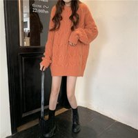 Women's Sweaters Orange Oversize Sweater Autumn Winter Women Knitted Pullover V-neck 4XL Loose Long Sleeve Plus Size Dress OL